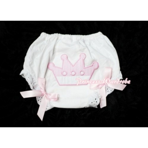 Sweet Crown Print White Panties Bloomers with Light Pink Bows LD23