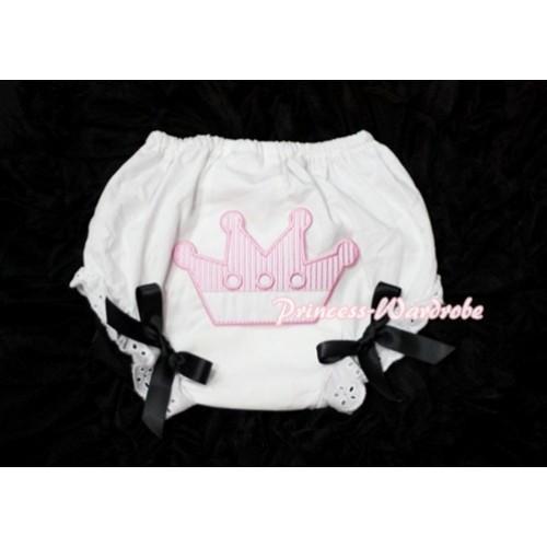 Sweet Crown Print White Panties Bloomers with Black Bows LD28