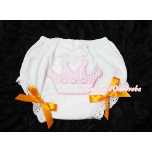 Sweet Crown Print White Panties Bloomers with Orange Bows LD30