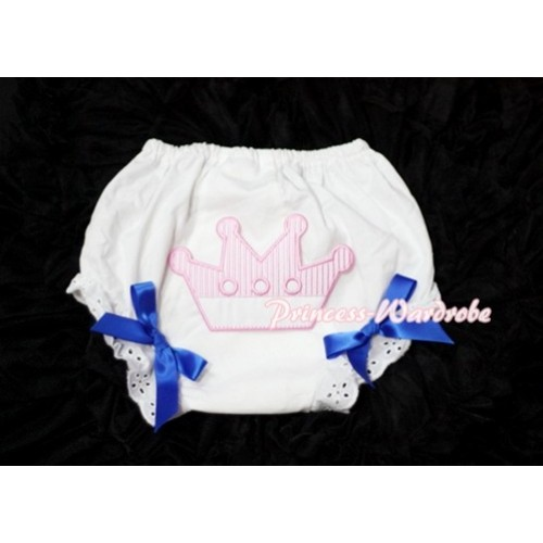 Sweet Crown Print White Panties Bloomers with Royal Blue Bows LD32