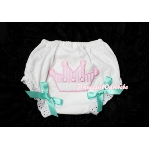 Sweet Crown Print White Panties Bloomers with Aqua Blue Bows LD33