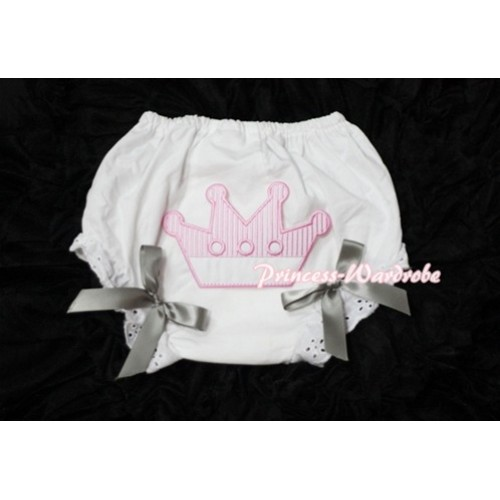 Sweet Crown Print White Panties Bloomers with Grey Bows LD38