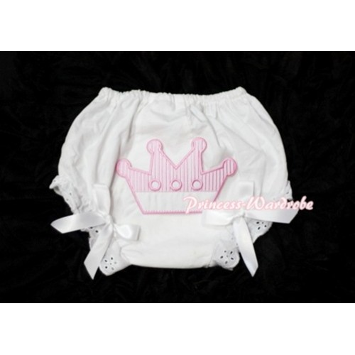 Sweet Crown Print White Panties Bloomers with White Bows LD27
