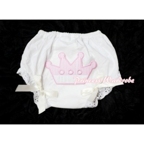 Sweet Crown Print White Panties Bloomers with Cream White Bows LD36