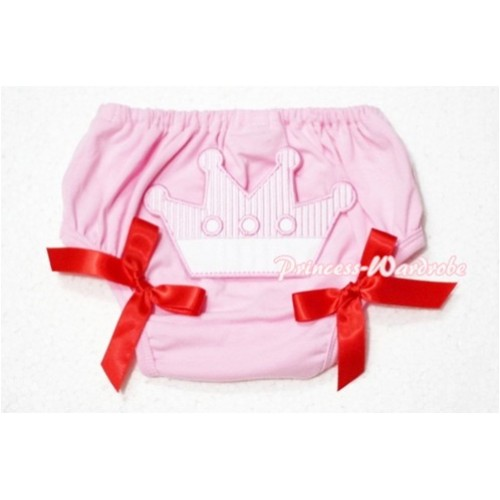 Sweet Crown Print Light Pink Panties Bloomers Red Bows LD40