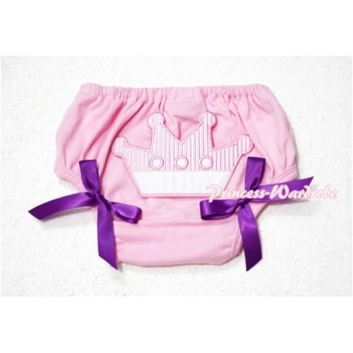 Sweet Crown Print Light Pink Panties Bloomers Dark Purple Bows LD44