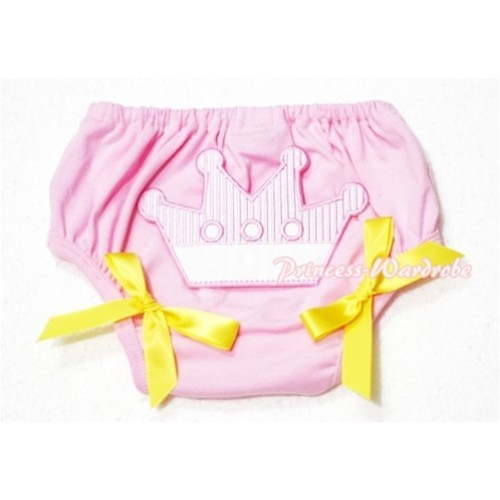 Sweet Crown Print Light Pink Panties Bloomers Yellow Bows LD47