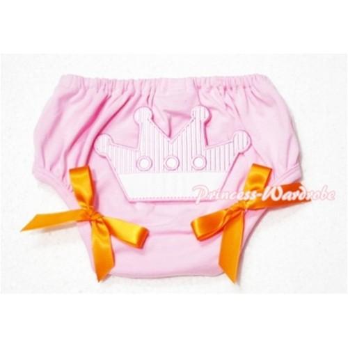 Sweet Crown Print Light Pink Panties Bloomers Orange Bows LD48