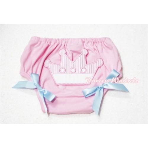 Sweet Crown Print Light Pink Panties Bloomers Light Blue Bows LD49