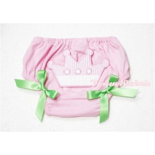 Sweet Crown Print Light Pink Panties Bloomers Lime Green Bows LD51