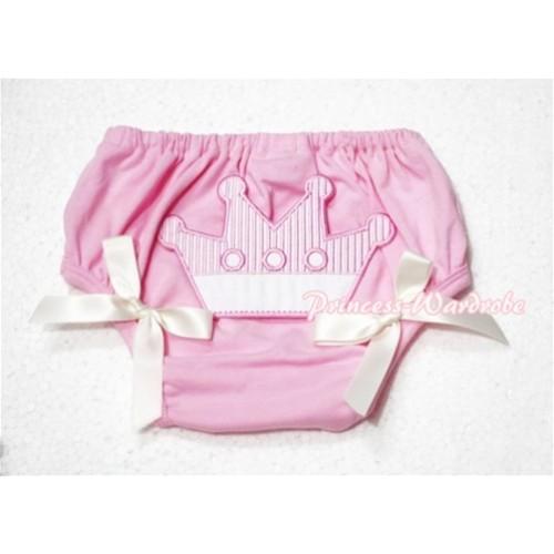 Sweet Crown Print Light Pink Panties Bloomers Cream White Bows LD52