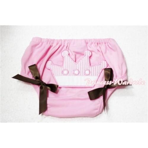 Sweet Crown Print Light Pink Panties Bloomers Brown Bows LD53