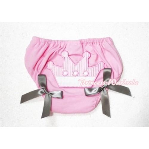 Sweet Crown Print Light Pink Panties Bloomers Grey Bows LD54
