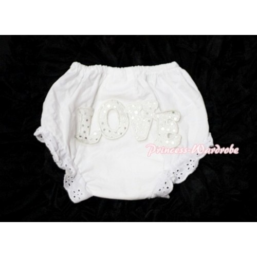 Sweet Spakle LOVE Print White Panties Bloomers LD72