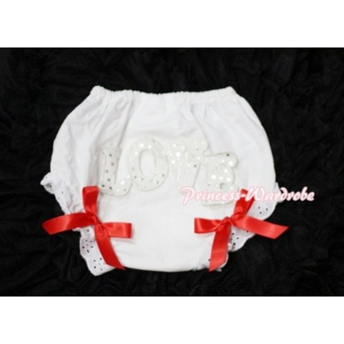 Sweet Spakle LOVE Print White Panties Bloomers with Red Bows LD56