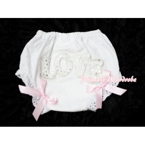 Sweet Spakle LOVE Print White Panties Bloomers with Light Pink Bows LD57