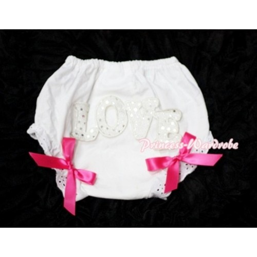 Sweet Spakle LOVE Print White Panties Bloomers with Hot Pink Bows LD58