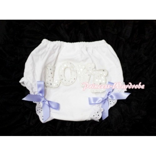 Sweet Spakle LOVE Print White Panties Bloomers with Lavender Bows LD59