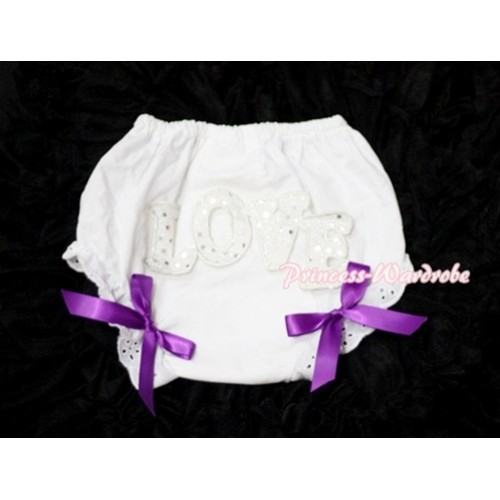 Sweet Spakle LOVE Print White Panties Bloomers with Dark Purple Bows LD60