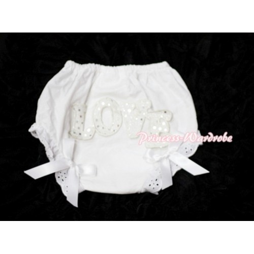 Sweet Spakle LOVE Print White Panties Bloomers with White Bows LD61