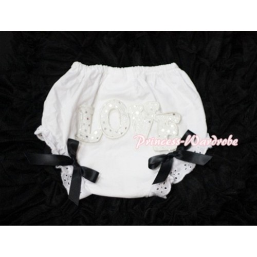 Sweet Spakle LOVE Print White Panties Bloomers with Black Bows LD62