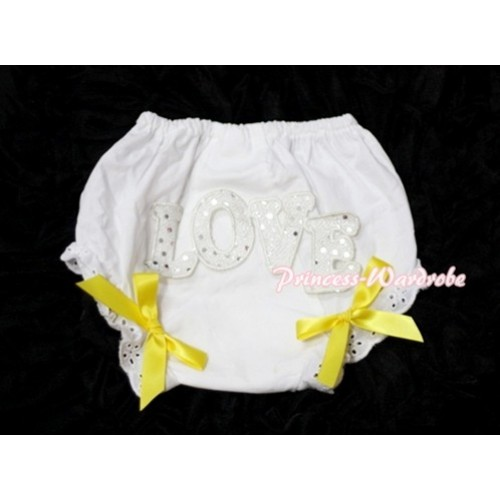 Sweet Spakle LOVE Print White Panties Bloomers with Yellow Bows LD63