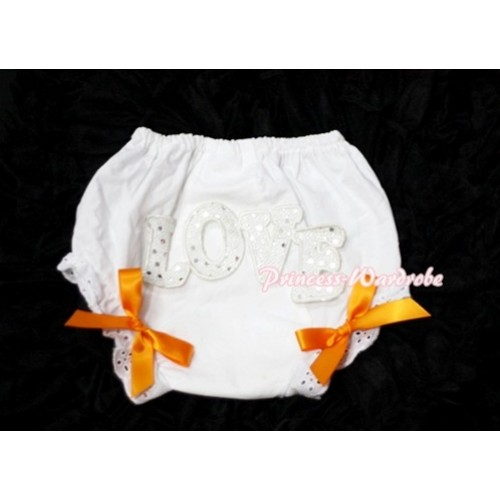 Sweet Spakle LOVE Print White Panties Bloomers with Orange Bows LD64