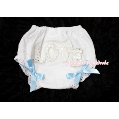 Sweet Spakle LOVE Print White Panties Bloomers with Light Blue Bows LD65