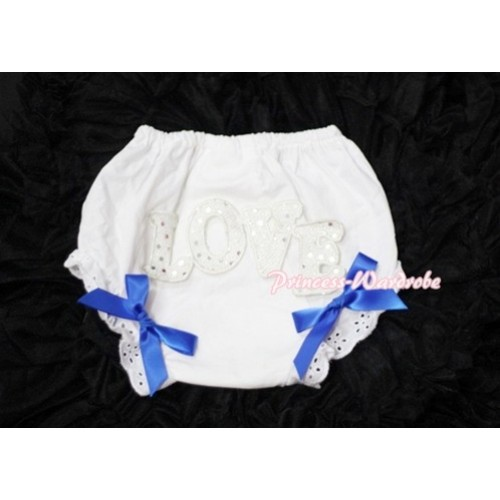 Sweet Spakle LOVE Print White Panties Bloomers with Royal Blue Bows LD66