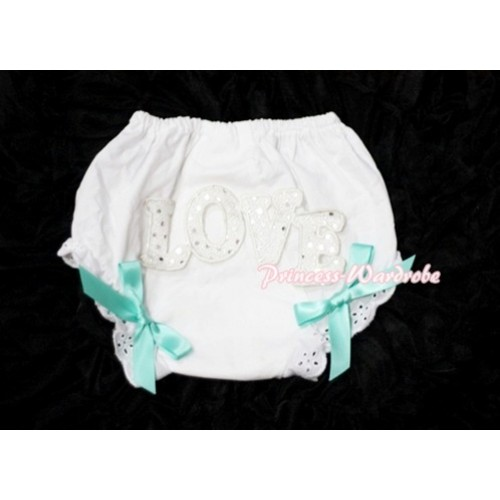 Sweet Spakle LOVE Print White Panties Bloomers with Aqua Blue Bows LD67
