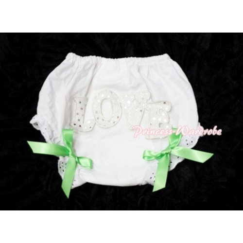 Sweet Spakle LOVE Print White Panties Bloomers with Lime Green Bows LD68