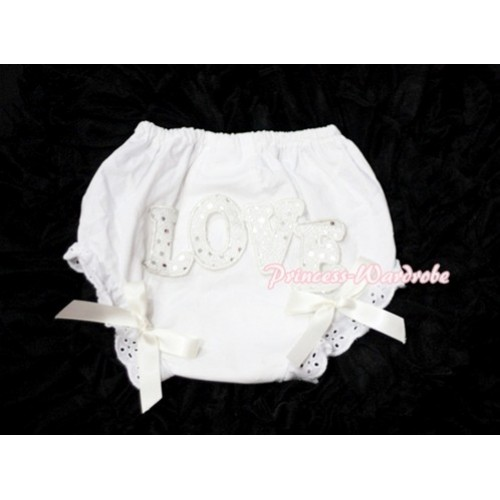Sweet Spakle LOVE Print White Panties Bloomers with Cream White Bows LD69