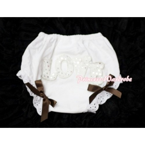 Sweet Spakle LOVE Print White Panties Bloomers with Brown Bows LD70