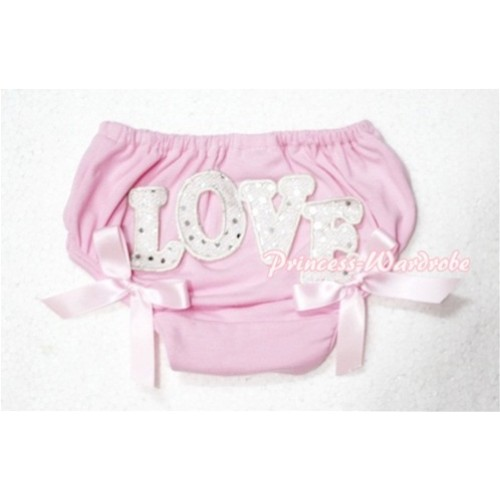 Sweet Spakle LOVE Print Light Pink Panties Bloomers with Light Pink Bows LD73