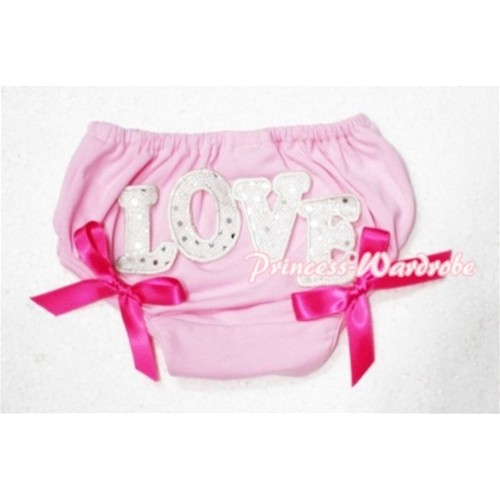 Sweet Spakle LOVE Print Light Pink Panties Bloomers with Hot Pink Bows LD74