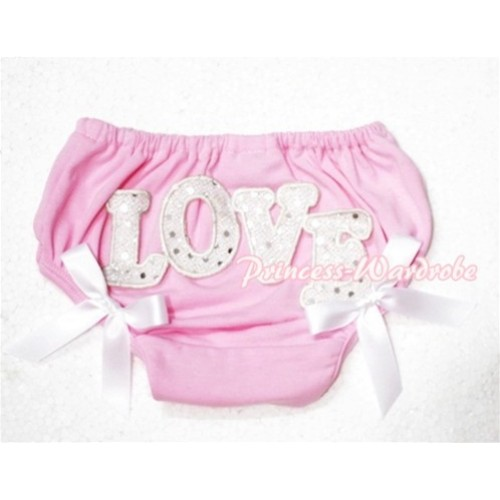 Sweet Spakle LOVE Print Light Pink Panties Bloomers with White Bows LD75