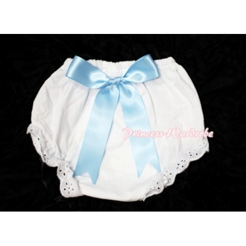 White Bloomers & Light Blue Big Bow BC105