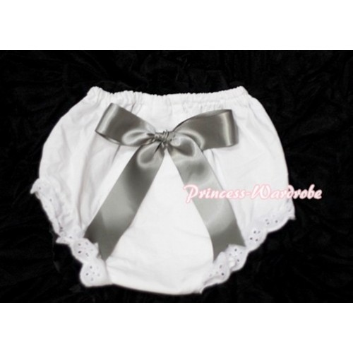 White Bloomers & Silver Grey Big Bow BC107