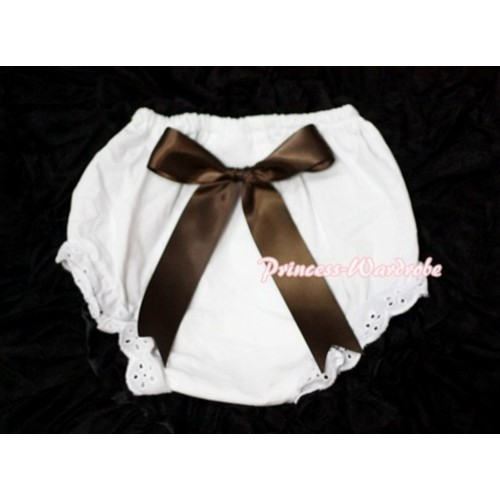 White Bloomers & Chocolate Brown Big Bow BC108