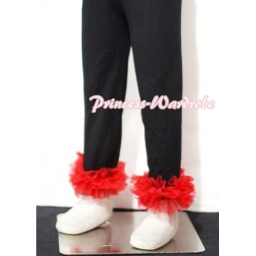Black Cotton Leggings Trousers with Red Ruffles TU01