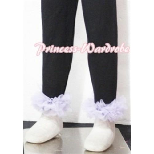 Black Cotton Leggings Trousers with Lavender Ruffles TU04