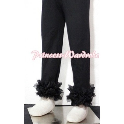 Black Cotton Leggings Trousers with Black Ruffles TU07