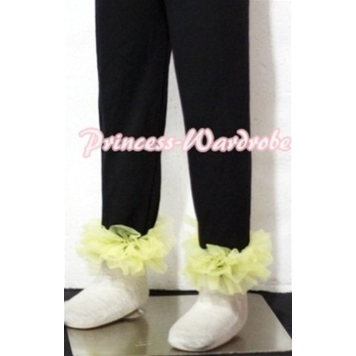 Black Cotton Leggings Trousers with Yellow Ruffles TU08