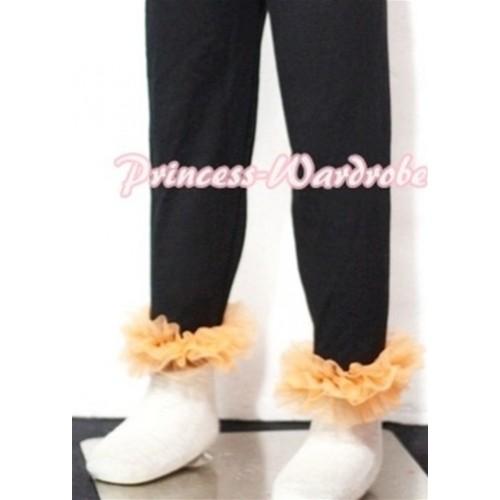Black Cotton Leggings Trousers with Orange Ruffles TU09