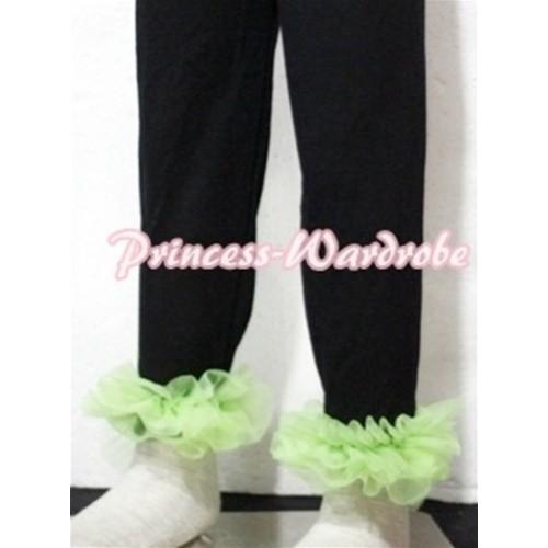 Black Cotton Leggings Trousers with Lime Green Ruffles TU13