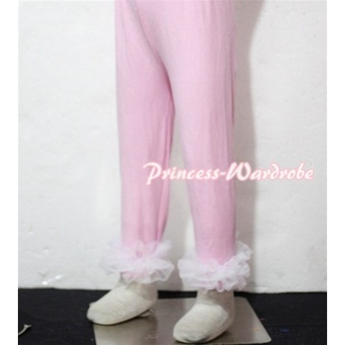 Pink Cotton Leggings Trousers with White Ruffles TU18