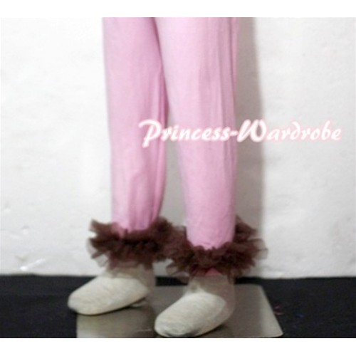 Pink Cotton Leggings Trousers with Brown Ruffles TU20