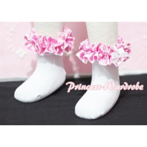 Plain Style Pure White Socks with Hot Pink Polka Dots Ruffles and Bow H200