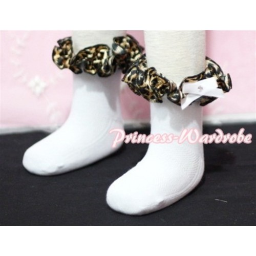 Plain Style Pure White Socks with Black Leopard Ruffles and Bow H206