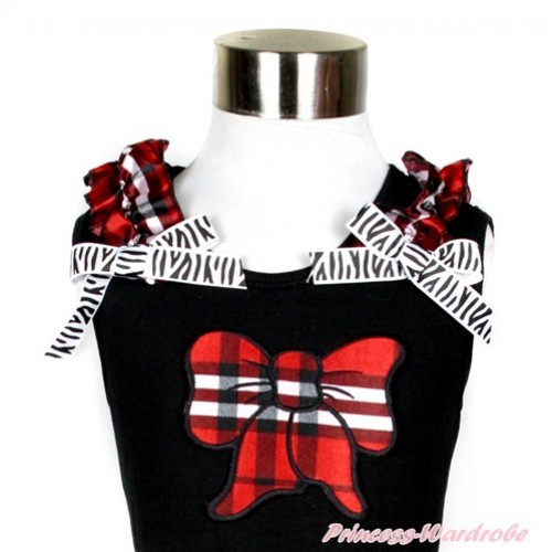 Black Tank Top With Red Black Checked Ruffles & Zebra Bow With Red Black Checked Butterfly Print TB579